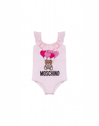 Moschino Heart Balloons Teddy Bear One-piece Swimsuit Woman Pink Size 4a