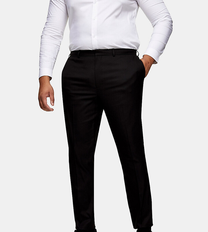 Thumbnail for your product : Topman Big & Tall textured skinny fit suit trousers in black
