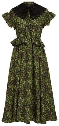 Rokh Printed Ruffle Midi Dress