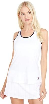 Fila Heritage Racerback Tank Top (White/Navy/Pastel Lilac) Women's Sleeveless