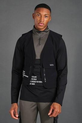 boohoo Mens Black Man Active Cargo Tech Vest, Black