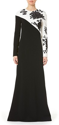 Carolina Herrera Embellished Floral Long-Sleeve Bias Gown