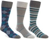 Roundtree & Yorke Gold Label Big & Tall Textured Stripe Crew Dress Socks 3-Pack