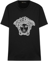 Versace Black Embroidered Cotton T-shirt