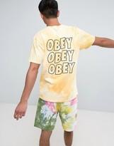 Obey Bleach T-Shirt With Jumble Logo Back Print Yellow