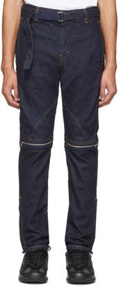 Sacai Indigo Zip-Detail Belted Jeans