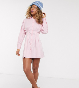 Collusion ruched mini long sleeve shirt dress in pink