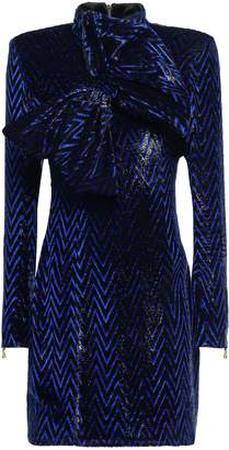 Balmain Bow-embellished Fil Coupe Turtleneck Mini Dress