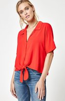 La Hearts Tie Front Button Down Top