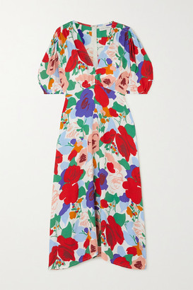 Faithfull The Brand Vittoria Floral-print Crepe Midi Dress - Red