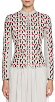 Giorgio Armani Hand-Woven Leather Zip Jacket, Beige/Multi