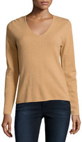Neiman Marcus Cashmere V-Neck Long-Sleeve Pullover Sweater, Camel