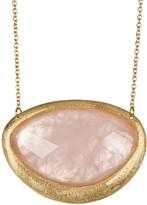 Rivka Friedman 18K Gold Plated Faceted Rose Quartz Organic Shape Station Necklace