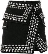 Balmain studded crossover mini skirt