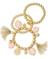 INC International Concepts Gold-Tone 3-Pc. Set Beaded Tassel and Ball Stretch Bracelets, Only at Macy's