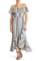 Bailey Blue Striped Off-the-Shoulder Maxi Dress