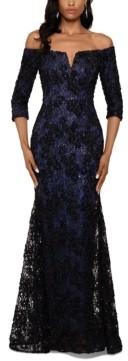 Xscape Evenings Floral-Lace Off-The-Shoulder Gown