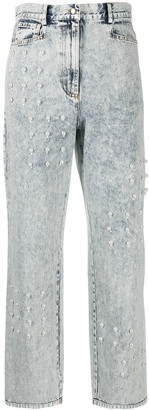 Sea Faux Pearl-Embellished Straight Leg Jeans