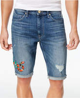 Sean John Men's 14and#034; Stretch Embroidered Destroyed Denim Shorts