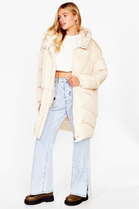 Nasty Gal Womens Puffer Up Oversized Longline Coat - Cream - 12