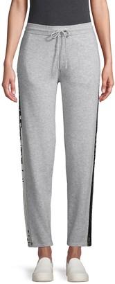 Qi Piallette Side-Stripe Cashmere Sweatpants