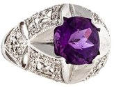 Ring 14K Amethyst & Diamond Dome Cocktail