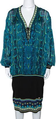 Roberto Cavalli Blue Snake Print Silk Fitted Hem Dress L