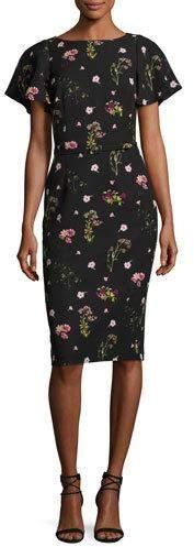 David Meister Floral-Print Short-Sleeve Cocktail Dress