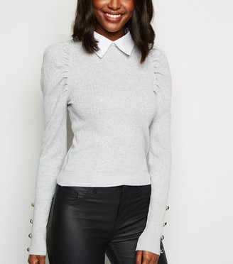 New Look Cameo Rose Collared Jumper