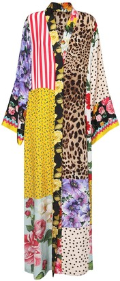 Dolce & Gabbana Patchwork Silk Crepe De Chine Long Dress