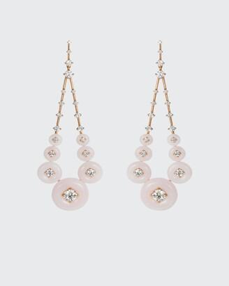 Fernando Jorge Gravity 18k Rose Gold Pink Opal White Diamond Earrings