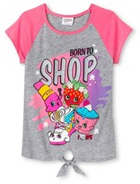 Shopkins Girls' Color Block Tie Front T-Shirt - Gray