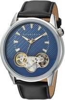 Sean John Men's 'Faux Automatic' Quartz Metal and Leather Dress Watch, Color: (Model: SJC0176002)