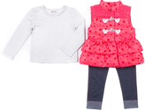 Little Lass Raspberry Heart Toggle Puffer Vest Set - Infant, Toddler & Girls