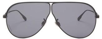 Christian Dior Diorcamp Rubber-coated Navigator Metal Sunglasses - Black