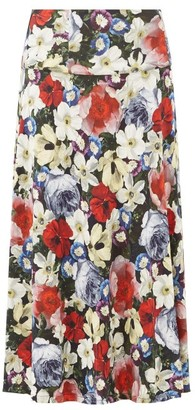 Erdem Elvin Poppy-print Midi Skirt - Black Multi