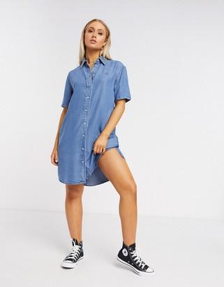 Calvin Klein denim shirt dress in mid blue