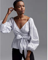 Express striped off the shoulder puff sleeve surplice blouse