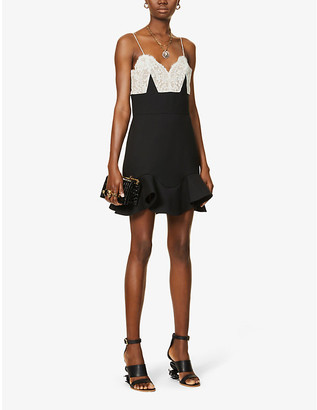 Alexander McQueen Lace-trim wool-blend mini dress