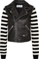 Loewe Leather And Striped Cotton-blend Biker Jacket - Black