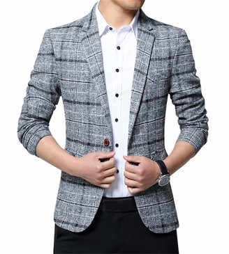 ZiXing Mens Slim Fit Suit Business Casual Jacket Checked Dinner Blazer Grey Medium