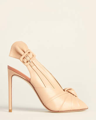 Francesco Russo Nude Peep Toe Slingback Pumps