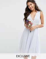 TFNC WEDDING Embellished Midi Dress with Plunge Neck