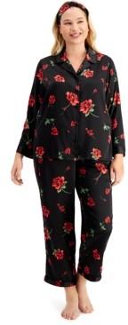 INC International Concepts Inc Plus Size Satin Pajama & Headband 3pc Set, Created for Macy's