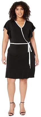 MICHAEL Michael Kors Size Solid Wrap Piping Dress (Black) Women's Dress
