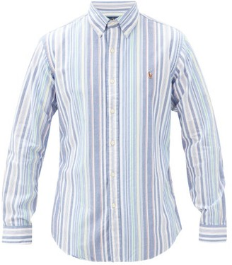 Polo Ralph Lauren Logo-embroidered Striped Cotton-oxford Shirt - Blue Multi
