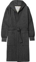 Reigning Champ Mélange Fleece-back Cotton-blend Jersey Hooded Robe - Black