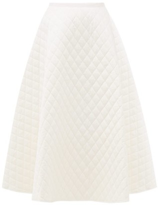 Lee Mathews Olive Quilted-cotton Midi Skirt - Womens - Ivory