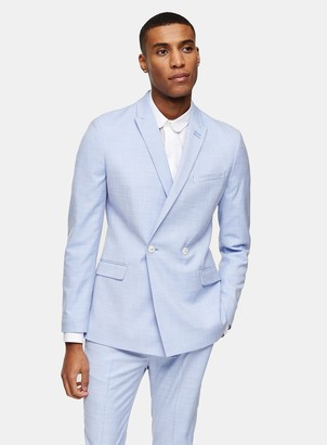 Topman Blue Double Breasted Skinny Fit Suit Blazer With Peak Lapels
