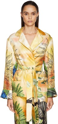 F.R.S For Restless Sleepers Jungle Print Silk Twill Wrap Shirt